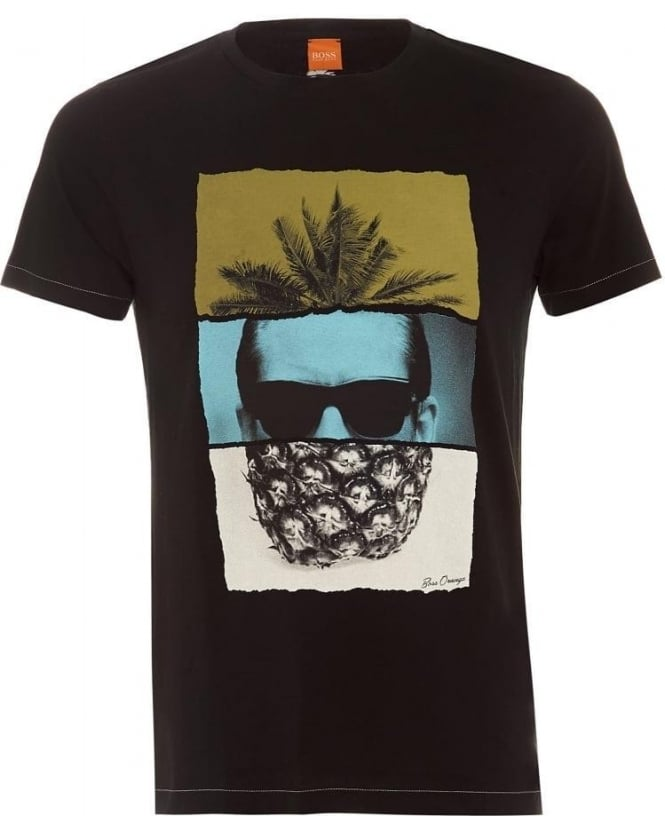 Hugo Boss Orange Mens T-Shirt Towney2 Pineapple Print Black Tee