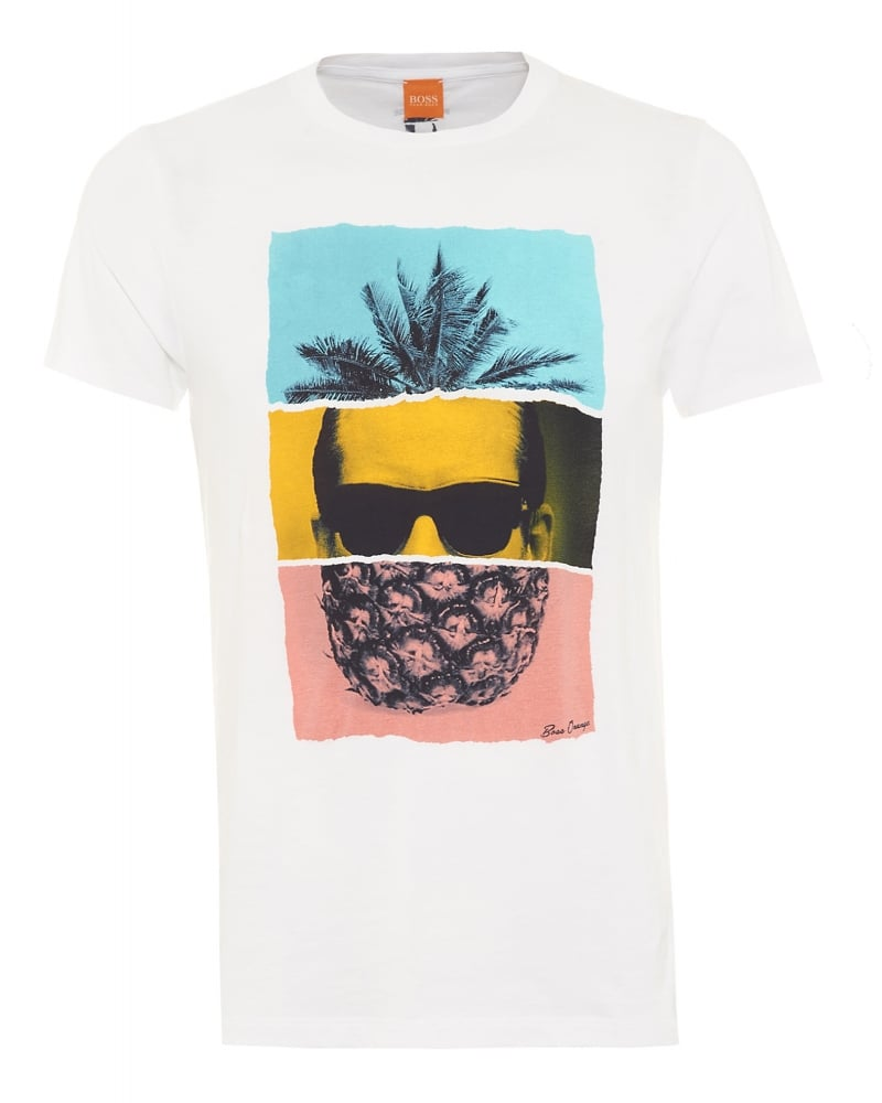 hugo boss orange mens towney2 pineapple print t shirt white. Black Bedroom Furniture Sets. Home Design Ideas