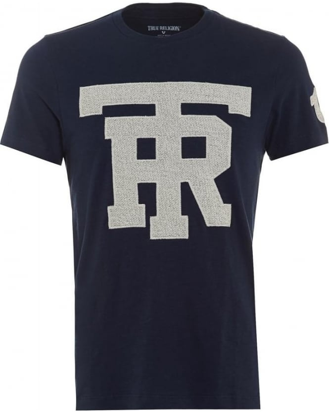 True Religion Jeans Mens T-Shirt University Graphic TR Navy Tee