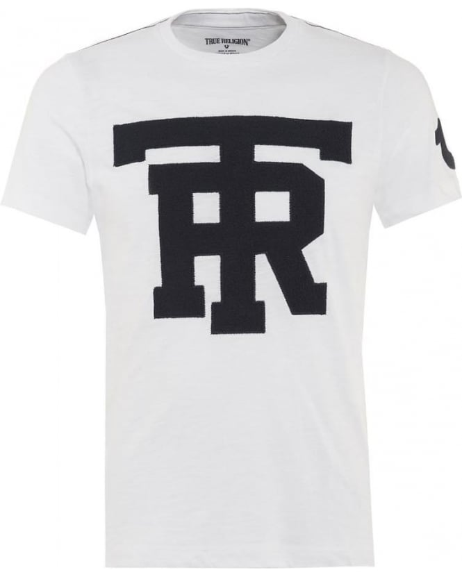 True Religion Jeans Mens T-Shirt University Graphic TR White Tee