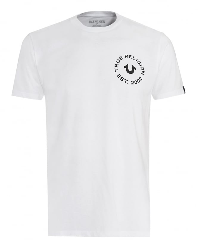 True Religion Jeans Mens T-Shirt, White Circle Graphic Logo Tee