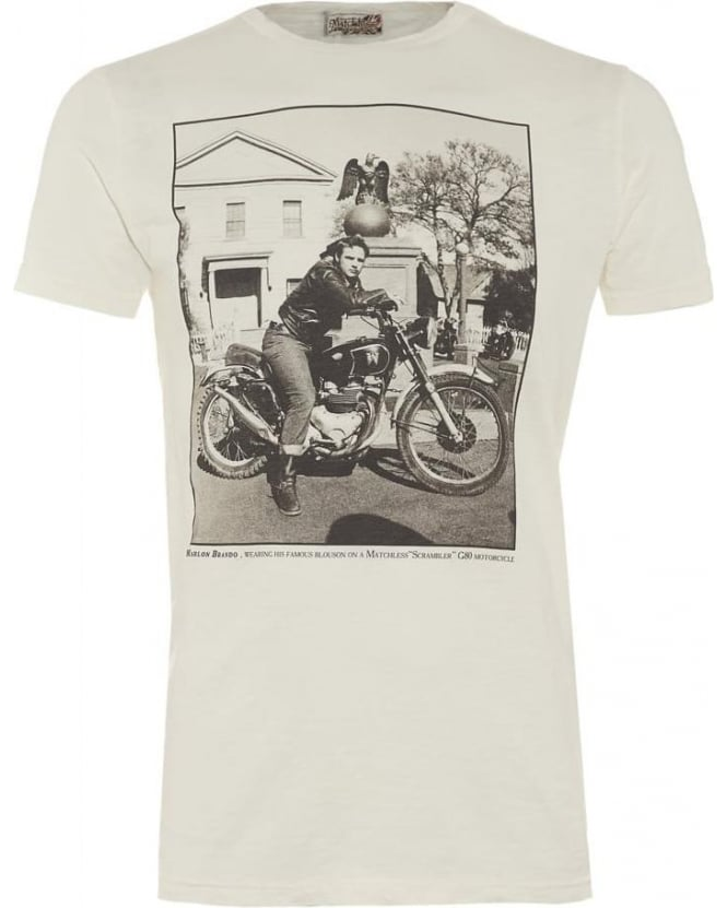 Matchless Mens T-Shirt White Vintage Motorcycle Photography Marlon Brando Tee