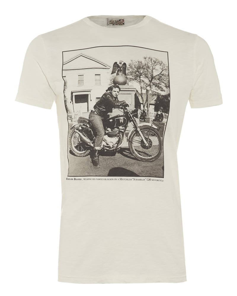 Matchless Mens T Shirt White Vintage Motorcycle