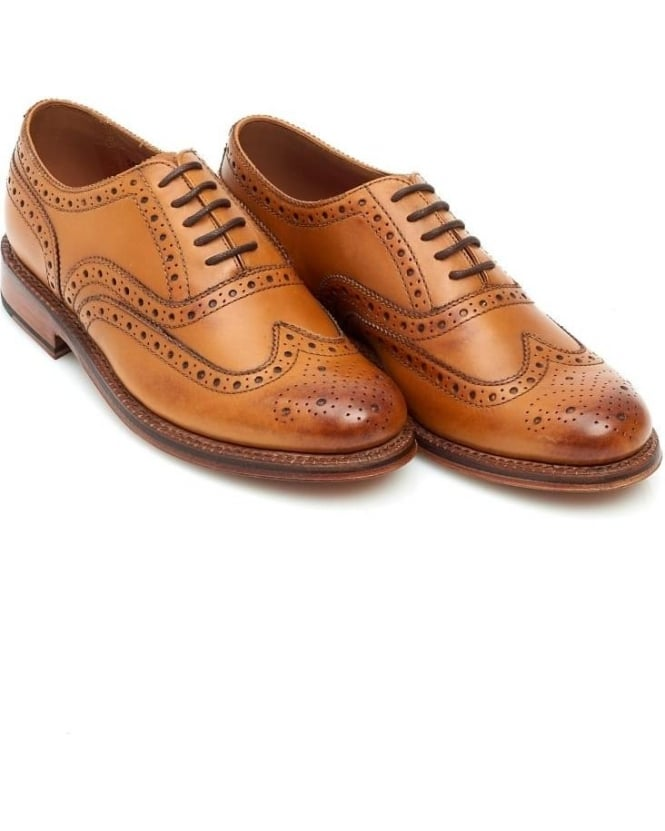 Grenson Shoes Mens Tan Stanley Leather Oxford Brogues