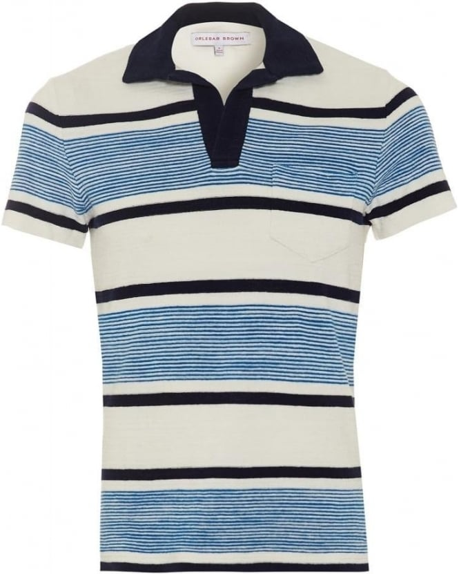 Orlebar Brown Mens Terry Ronald Stripe Polo Shirt, Butterfly Blue White Polo