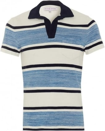 Mens Terry Ronald Stripe Polo Shirt, Butterfly Blue White Polo