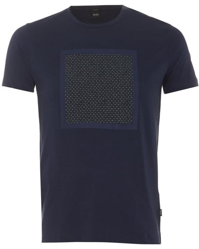 Hugo Boss Black Mens Tessler 15 T-Shirt, Navy Blue Geometric Square Print Tee