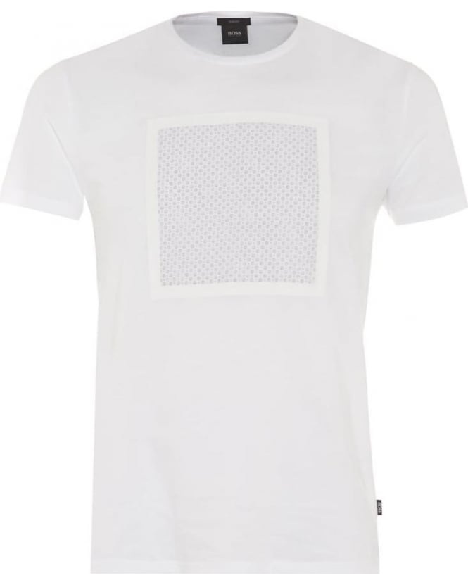 Hugo Boss Black Mens Tessler 15 T-Shirt, White Geometric Square Print Tee