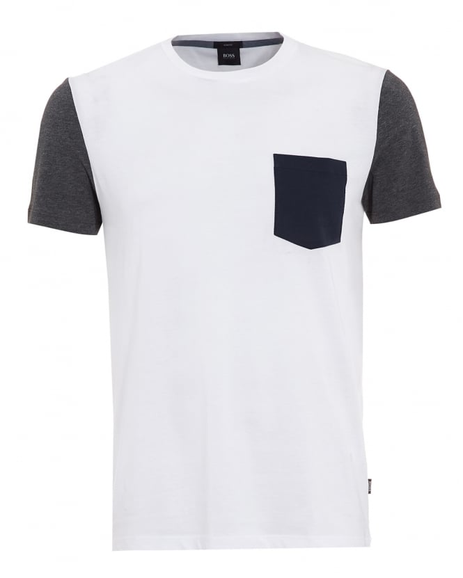 Hugo Boss Black Mens Tessler 17 T-Shirt, White Contrast Pocket Tee