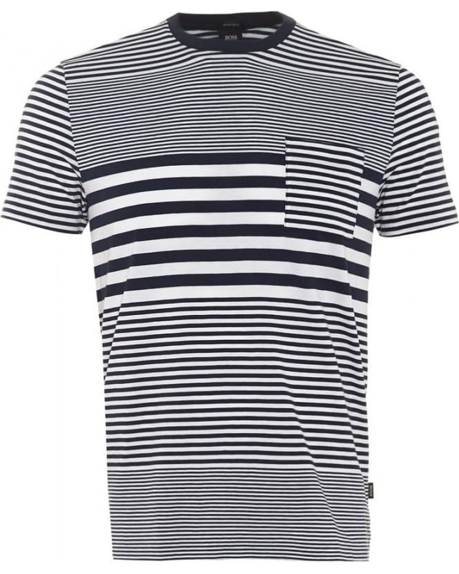 Hugo Boss Black Mens Tiburt 01 T-Shirt, Navy White Stripe Slim Fit Tee