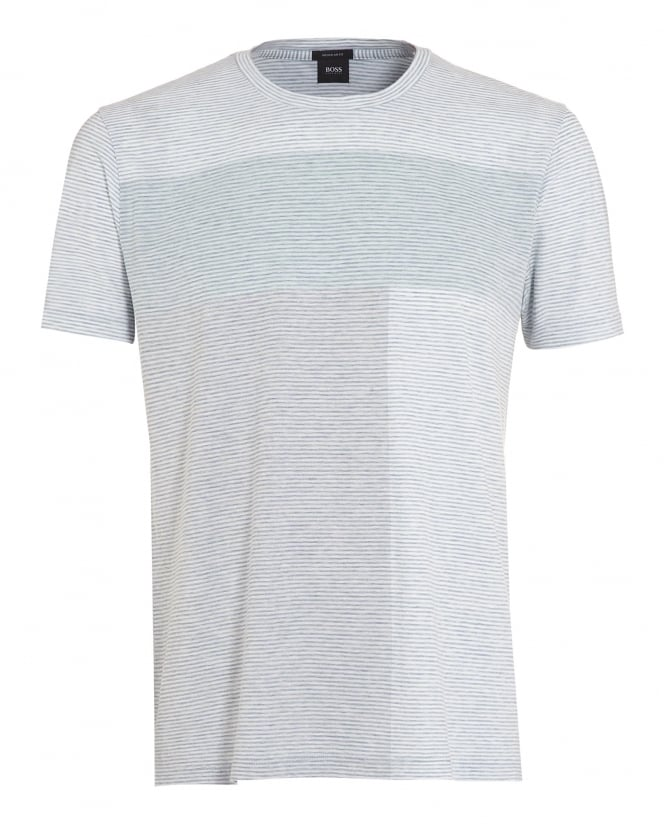 Hugo Boss Black Mens Tiburt 10 T-Shirt, Mint Green Horizon Stripe Tee