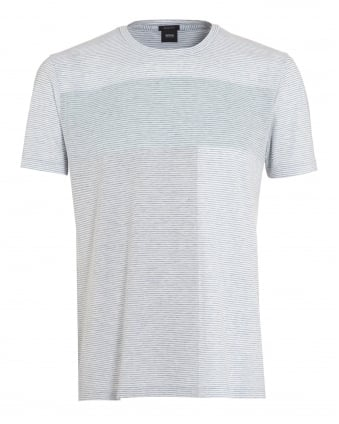 Mens Tiburt 10 T-Shirt, Mint Green Horizon Stripe Tee