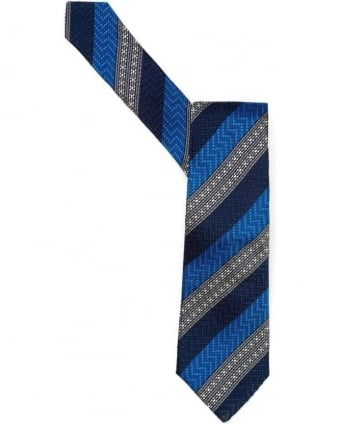 Mens Tie Blue Morse Diagonal Striped Tie