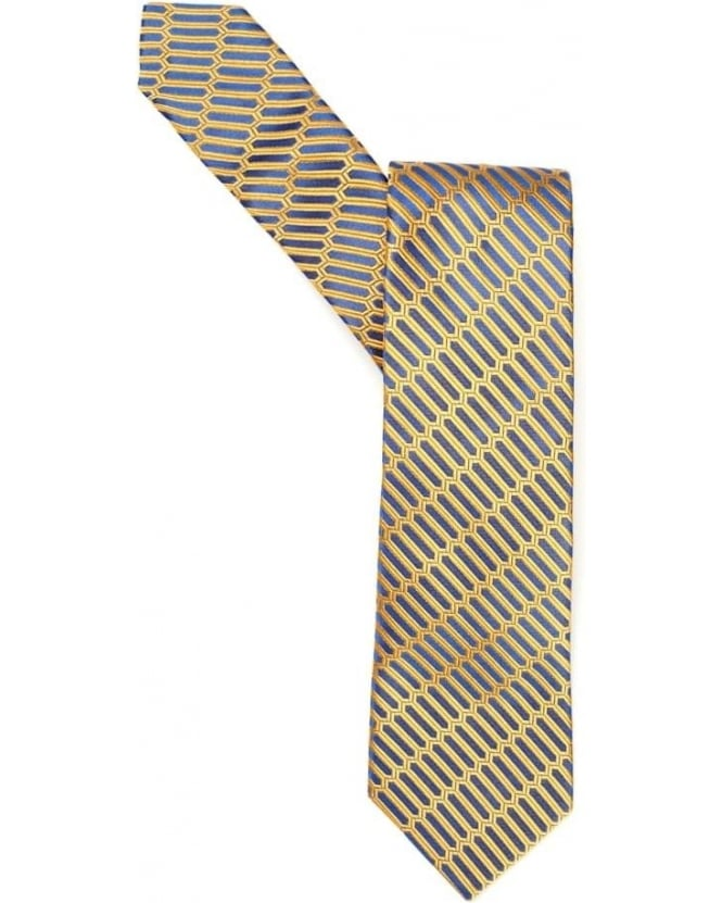 Duchamp Mens Tie Vital Geo Stripe Rectangle Gold Silk Tie