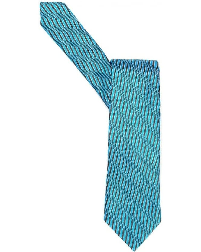 Duchamp Mens Tie Wave Geo Stripes Sky Blue Silk Tie