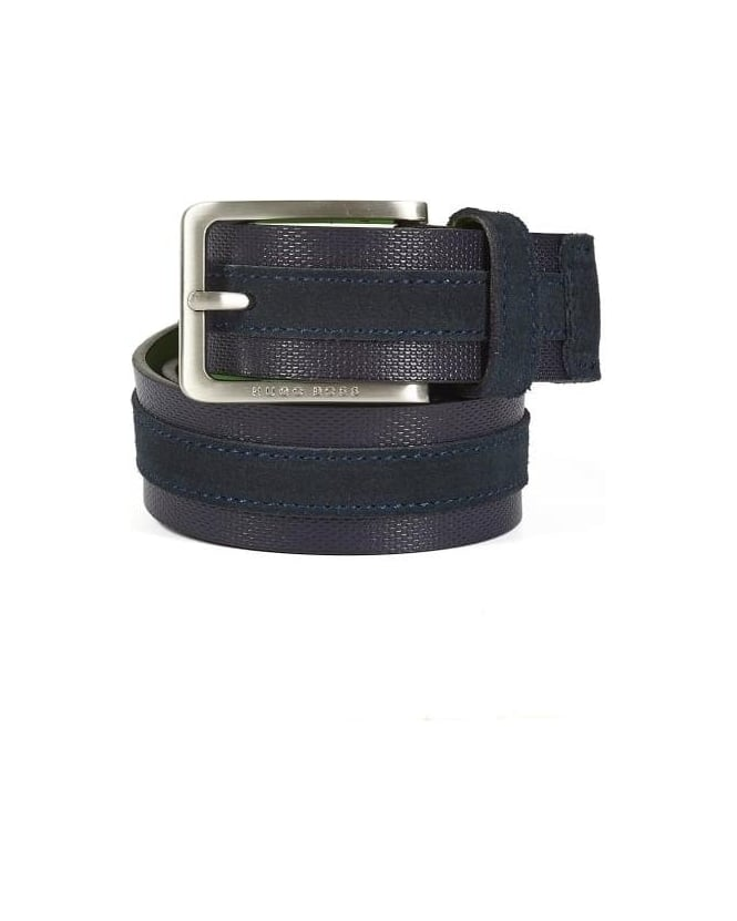 Hugo Boss Green Mens Tillos belt, Dark Blue Suede Leather Belt