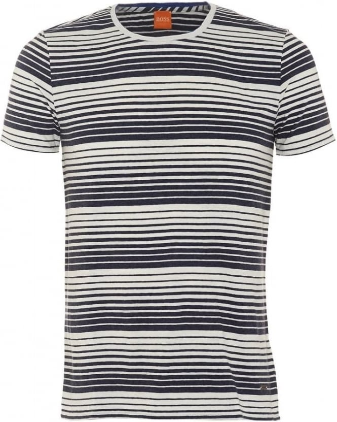 Hugo Boss Orange Mens Tomeko T-Shirt, Dark Blue Gradient Stripe Tee