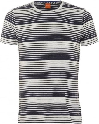 Mens Tomeko T-Shirt, Dark Blue Gradient Stripe Tee