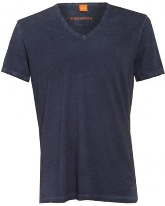 Mens Toulouse T-Shirt, Navy Blue Marl V-Neck Tee