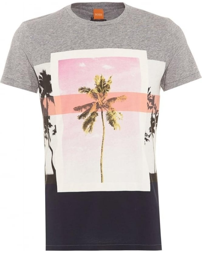 Hugo Boss Orange Mens Towney4 T-Shirt Palm Tree Navy Grey Tee