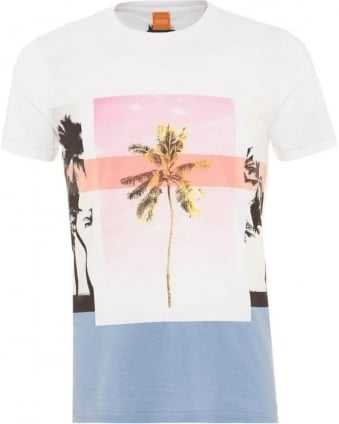Mens Towney4 T-Shirt Palm Tree White Tee