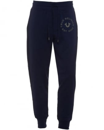 Mens Track Pants Cuffed Drawstring Navy Blue Sweatpants