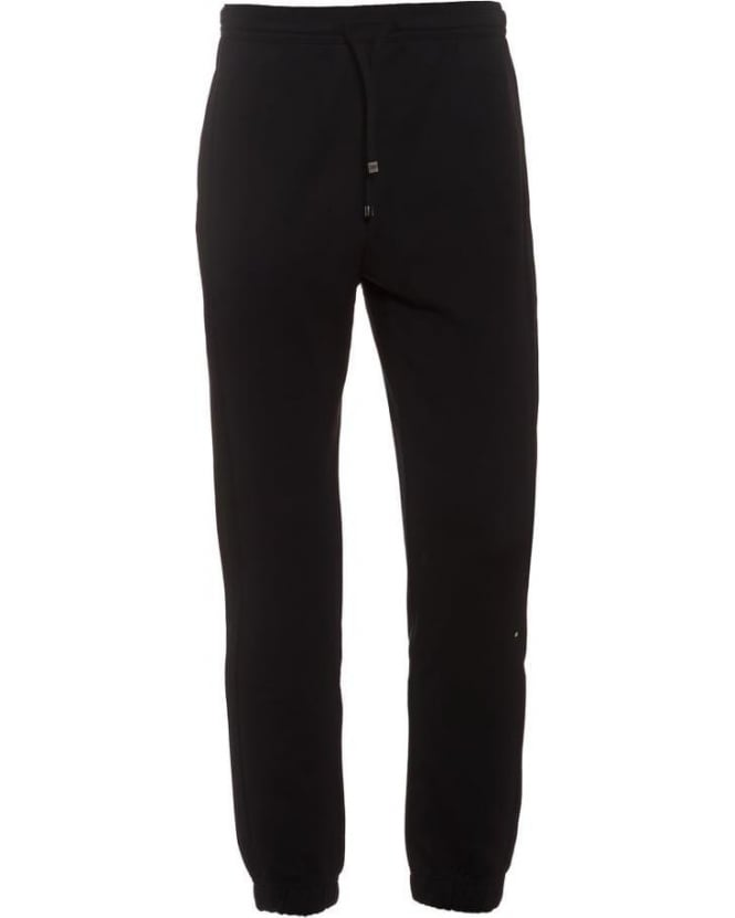 Hugo Boss Green Mens Track Pants Hadiko Black Cuffed Tracksuit Bottoms