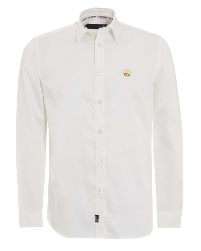 Love Moschino Mens White Shirt, Plain Peace Logo Shirt