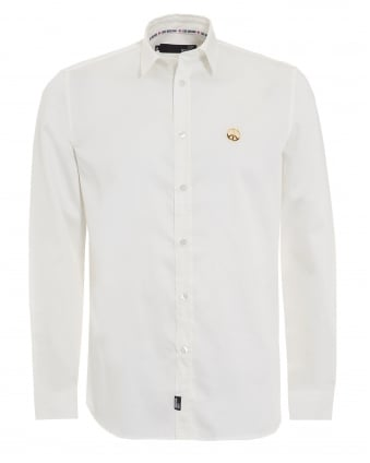 Mens White Shirt, Plain Peace Logo Shirt