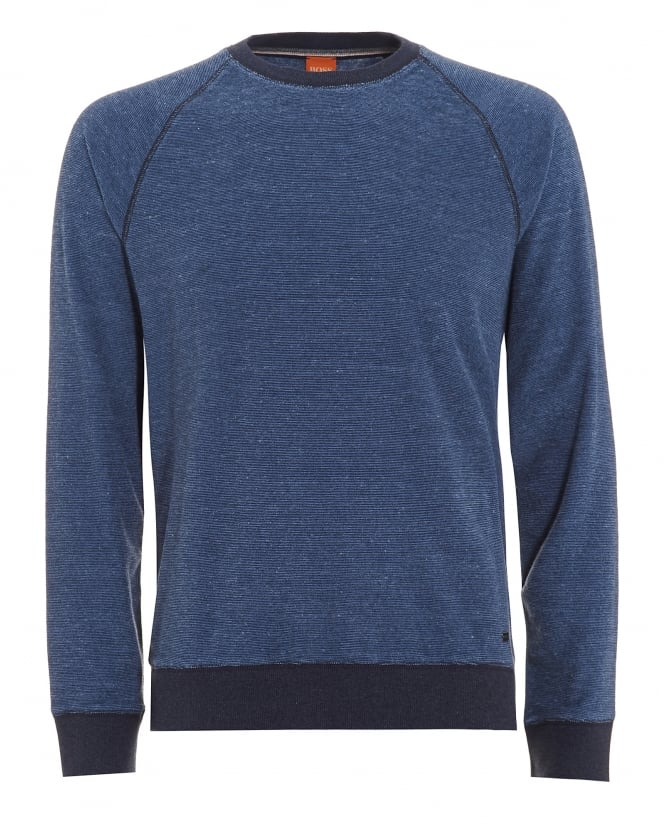 Hugo Boss Orange Mens Willie Jumper, Marl Blue Sweatshirt