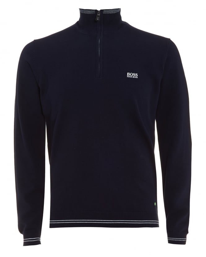 Hugo Boss Green Mens Zime Jumper, Quarter Zip Knit Navy Blue Sweatshirt