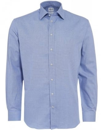 Mid Blue Textured Modern Fit Shirt