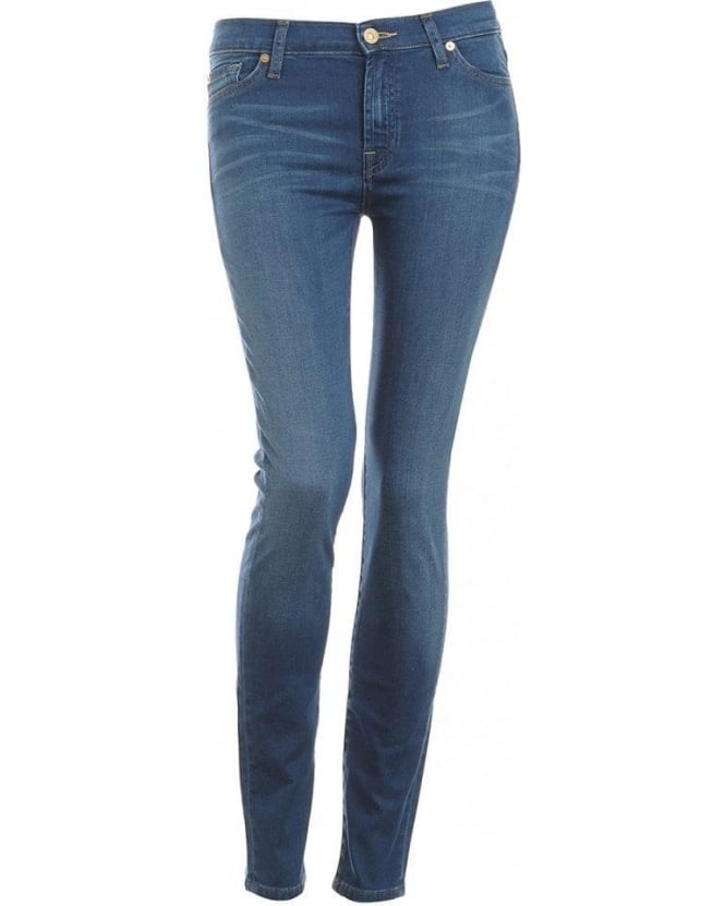 For All Mankind Mid Light Blue High Waist Skinny Jean