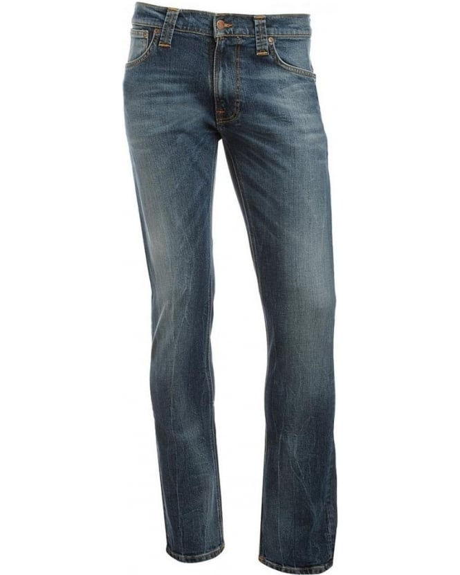 Nudie Jeans Mid Whisker Blue Thin Finn Jeans