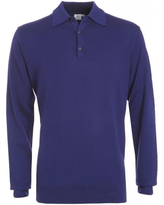 Sunspel Midnight Blue Fine Merino Wool Polo Jumper