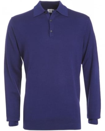 Midnight Blue Fine Merino Wool Polo Jumper