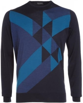 Midnight Indigo Geometric Pattern 'Kester' Jumper