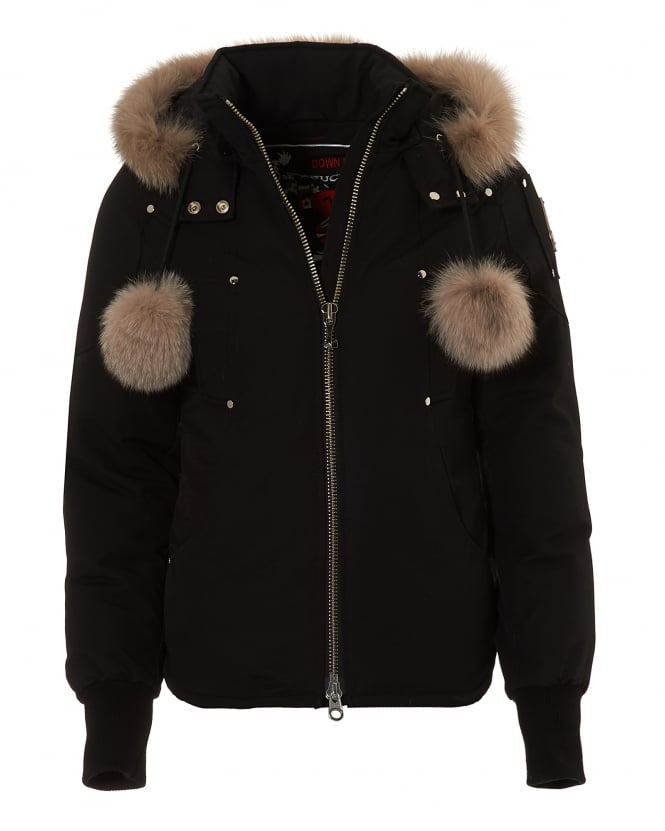 Moose Knuckles Womens Beaver Jacket, Blue Fox Fur Trim Black Coat