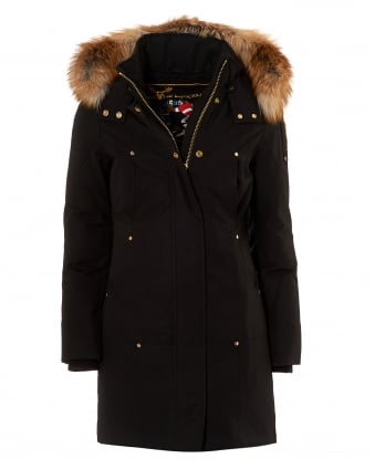 Womens Font Du Lac Parka, Red Fox Fur Trim Black Jacket