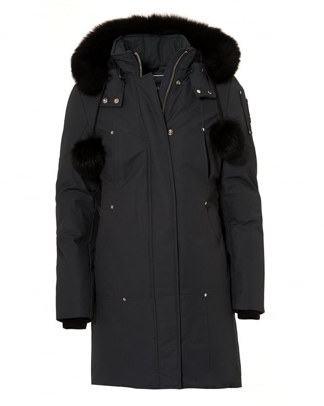 Moose Knuckles Womens Stirling Parka Jacket, Full Length Granite Grey Coat