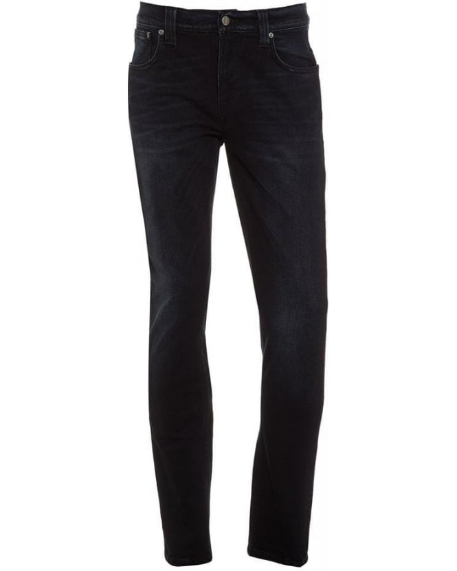 Nudie Jeans Mortal Indigo Thin Finn, Slim Fit Blue Black Stretch Denim Jeans