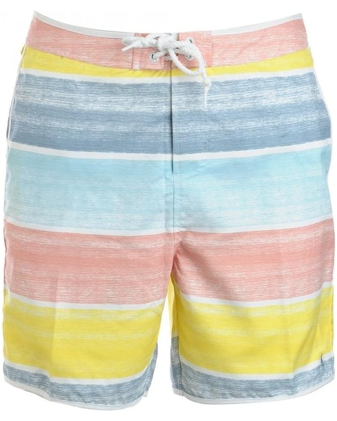 Original Penguin Multi-Coloured Faded Block Stripe Swimshorts