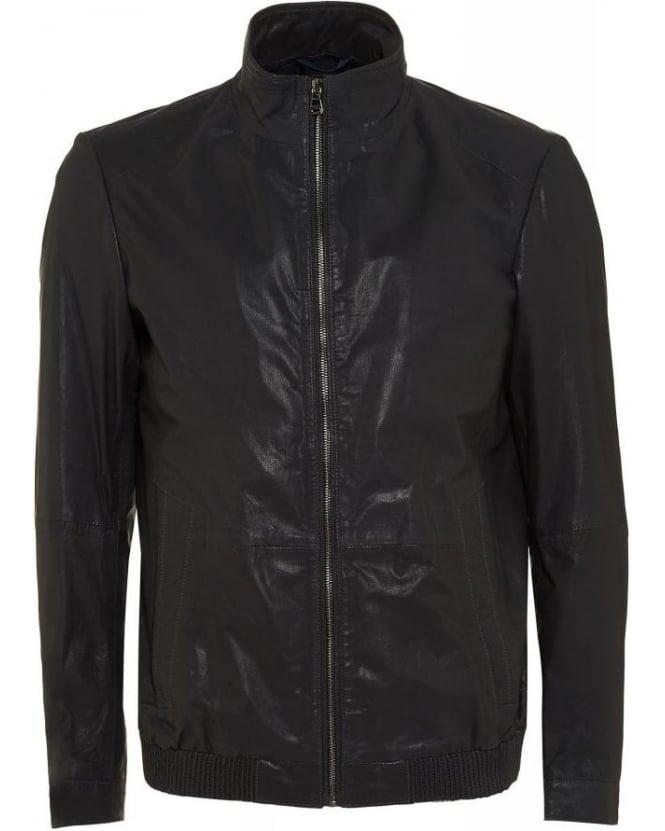95486b5e5f1 hugo boss black nappa biker arthuro goatskin navy blue leather jacket