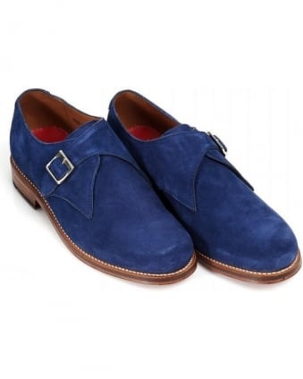 'Nathan' Navy Blue Monk Buckle Shoe
