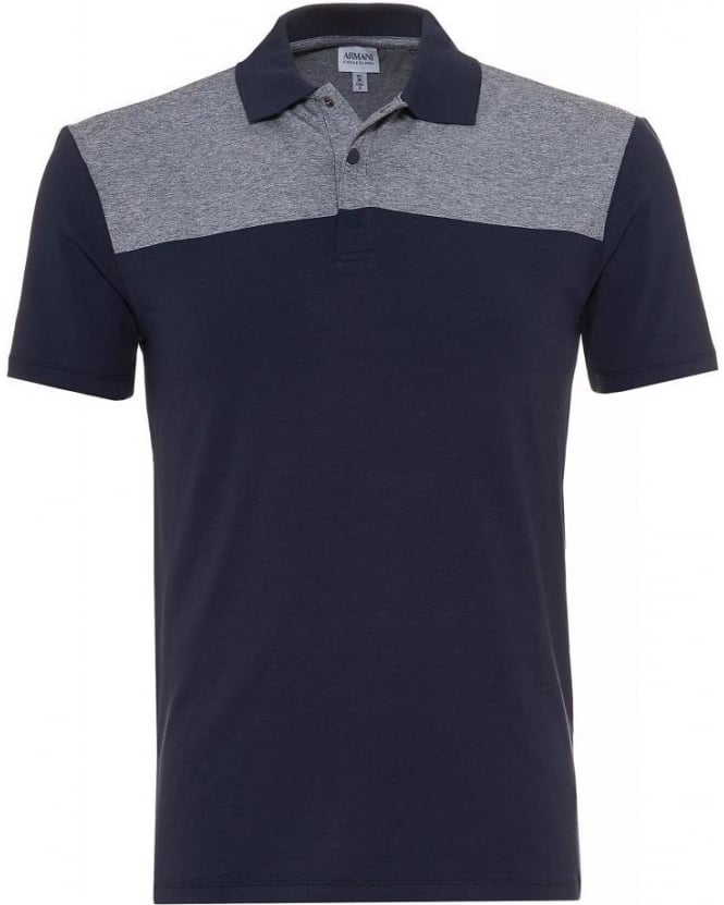 Armani Collezioni Navy and Grey Slim Fit Polo Shirt