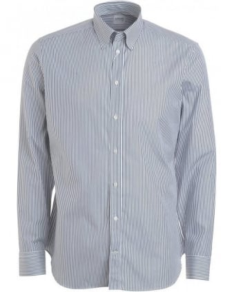 Navy And White Fine Stripe Shirt