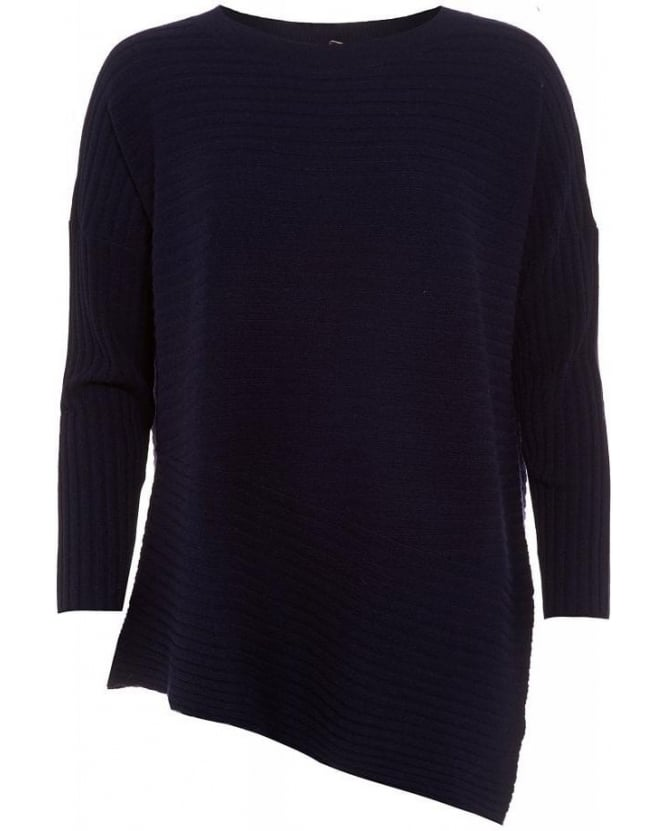 Cocoa Cashmere Navy Asymmetric Ribbed Tunic