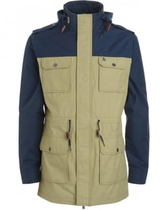Navy Blue And Beige 'Radiot' Field Jacket