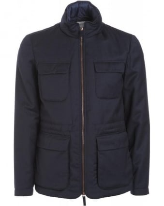 Navy Blue Cashmere And Wool Blouson Jacket