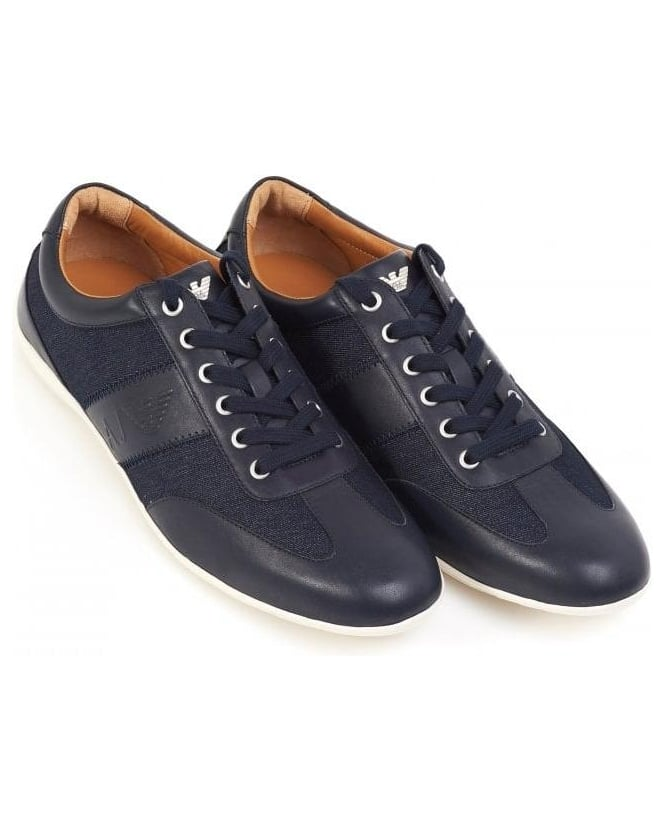 Armani Jeans Navy Blue City Style Leather Trainers With Denim Inserts